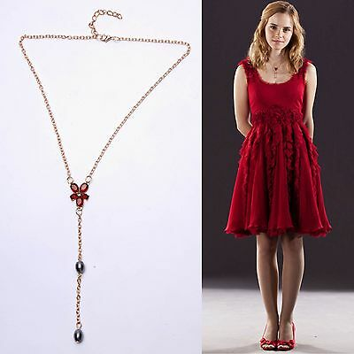 Harry Potter Hermione Gold Red Zircon Crystal Rhinestone Pearls Costume Necklace