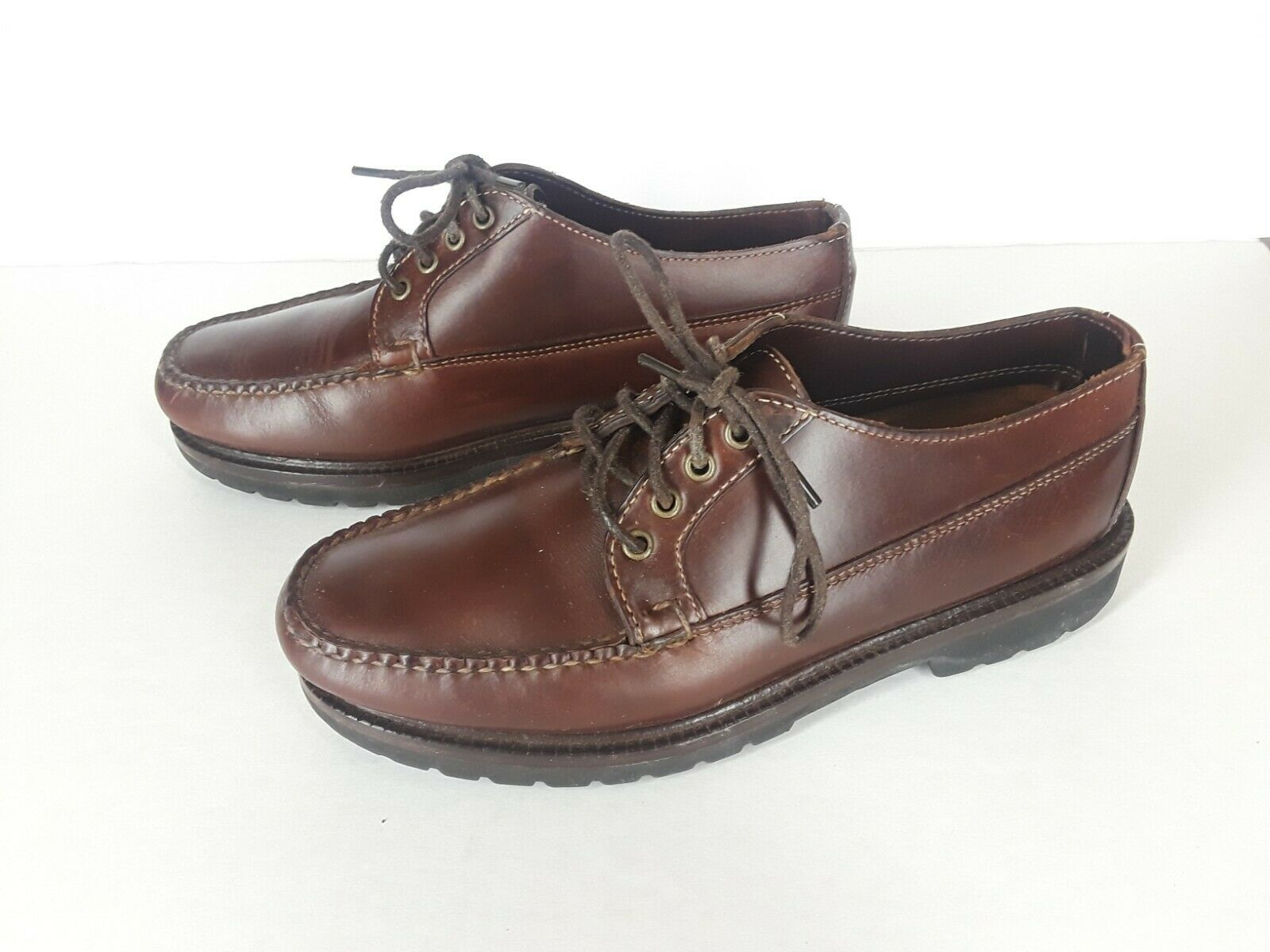 LL Bean Men's 7.5 EE Brown Leather Oxford shoes Casual Laced