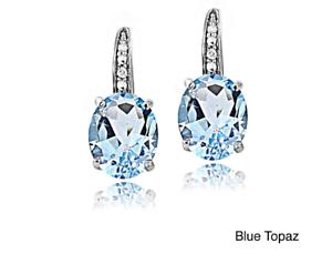 Blue topaz sterling silver drop earrings December birthstone gift 925 stone