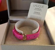 ~MUST! Auth New w TAGs In Box LALIQUE Paris Pink Leather Bracelet w gold buckle