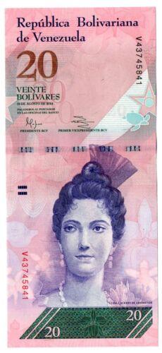 Venezuela UNC Note 20 Bolivares Bs August 2014 P-91