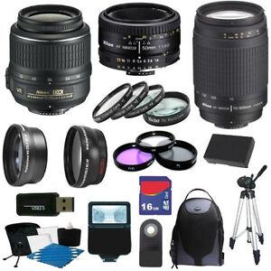 Deluxe-Kit-for-Nikon-D3000-amp-D5000-w-18-55-VR-amp-70-300-G-amp-50-1-8D-Lens