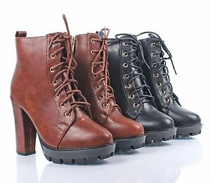 2 Color Faux Leather Combat Military Chunky 4.5 High Heel Womens Mid-Calf Boots