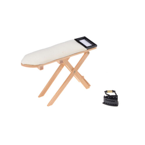 1:12 scale Doll House Miniature Iron With Ironing Board set Pretend Play Wv
