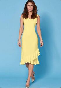 Kaleidoscope-Lemon-Frill-Hem-Slip-Dress-Women-Ladies-Midi-Dress