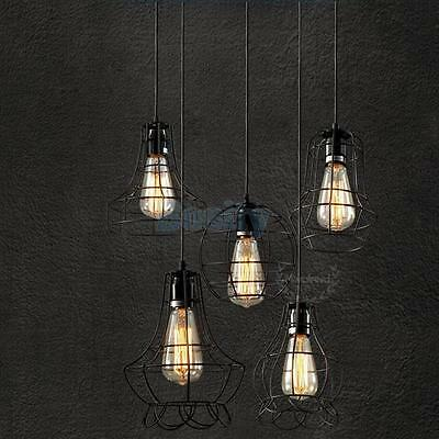Edison Vintage Pendant Ceiling Light Lamp Fixture Chandelier Cage Lamp Shade