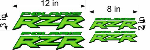 GREEN 4 Pack Vinyl Vehicle ATV Utility Graphic Stickers Polaris Logo RZR