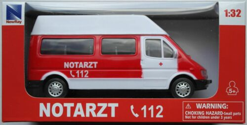Rennbahn NewRay Van weiß//rot NOTARZT 1:32 Spur 1 Neu//OVP Ambulance Dekoration f