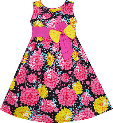 Sunny Fashion Girls Dress Pink Yellow Floral Bow Tie Party Beach 4-12 Y