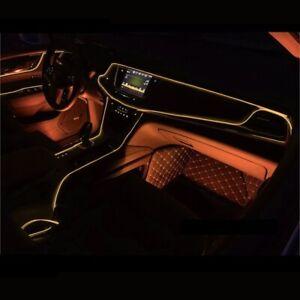 Naranja-coche-LED-el-alambre-ambiente-interior-Tira-de-Luz-Lampara-De-Neon-Glow-Decoracion