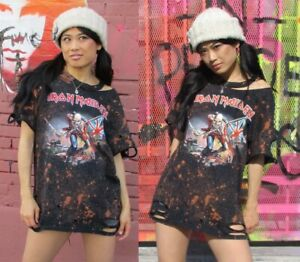 75ae7ef07e2 Iron Maiden bleached distressed t shirt dress or tunic S-XL Licensed ...