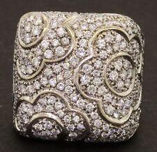 Heavy jumbo 18K 2-tone gold 3.0CT VS2/G diamond cluster flower cocktail ring