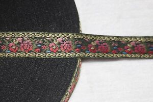 1-yard-black-pink-ombre-blue-olive-gold-jacquard-satin-woven-ribbon-Trim-5-8-034