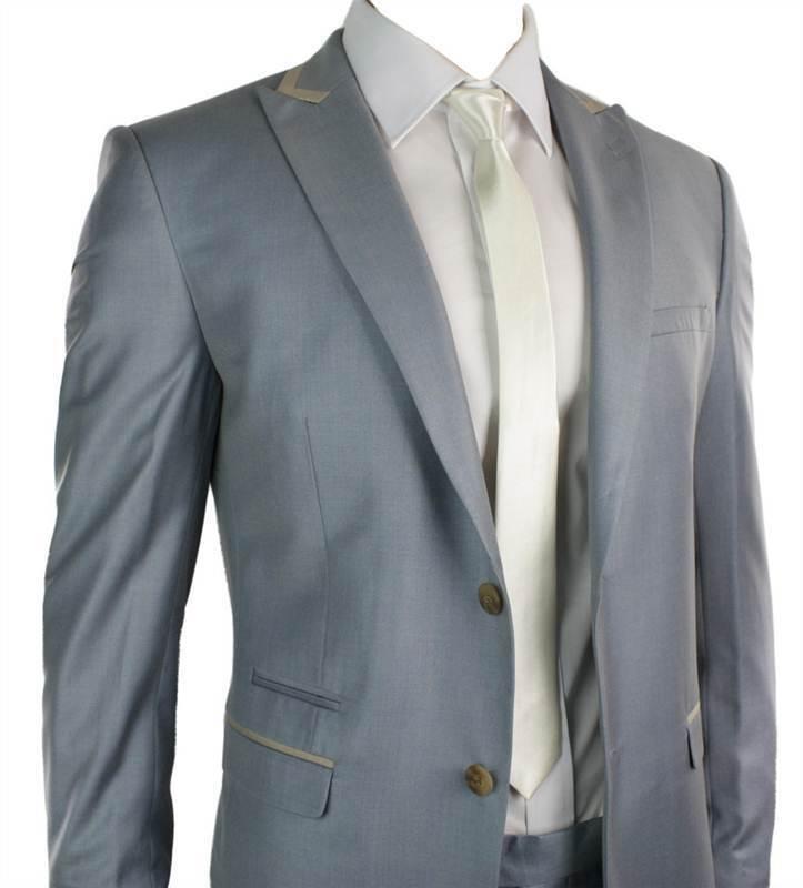 Herren Fitted Powder Baby Blau Suit Beige Trim Smart Office Wedding Party Prom