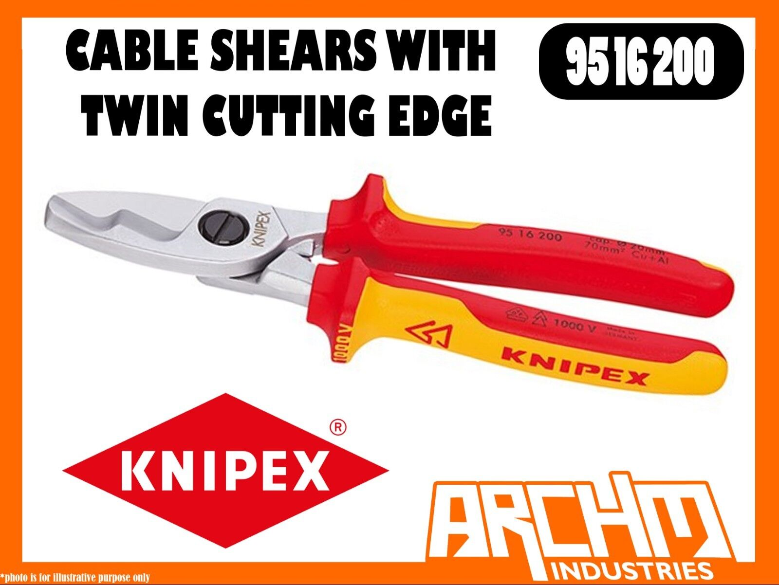 KNIPEX 9516200 - CABLE SHEARS - TWIN CUTTING EDGE - 200MM - 1000 VDE - HARDENED