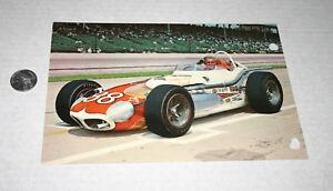 VINTAGE-JUMBO-6-X-9-POST-CARD-INDY-500-CHUCK-STEVENSON-OJ-SPECIAL-1965-HOLES