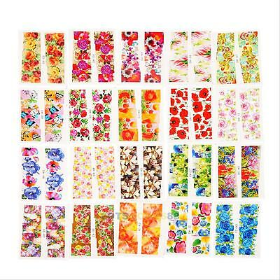 50pcs Flower Design Water Transfer Nail Stickers Decals DIY Nail Art Decoration