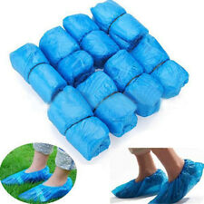 100x Plastic Blue Disposable Rain Cleaning Shoes Boot Cover Overshoes Protective