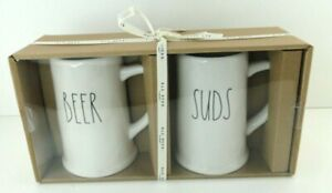 Rae Dunn Beer And Suds Steins Pint Size 2020 Collection White