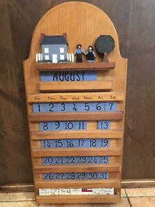 Vintage Perpetual Wood Calendar Amish Theme