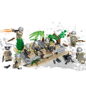 6pcs//set Militär Soldaten mit Waffen Bausteine Bricks WW2 Mini Armee Figuren DE