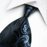 UK0004 Blue Black Paisley New Silk Classic JACQUARD Woven Men's Tie Necktie