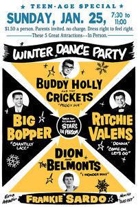 buddy holly big bopper rock n roll poster winter dance party 1950s