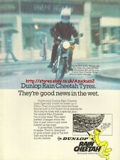 Dunlop Rain Cheetah Tyres Motorcycle 1978 Mag. Advert #1035