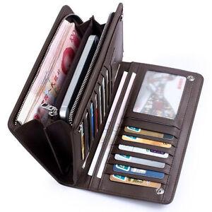 Hot-Herren-Lang-Geldbeutel-Portemonnaie-Leder-Kartenetui-Geldboerse-Brieftasche