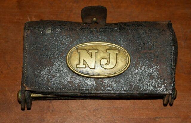 Rare 1870's McKeever NEW JERSEY LEATHER CARTRIDGE BOX-Great Piece-Civil War Era