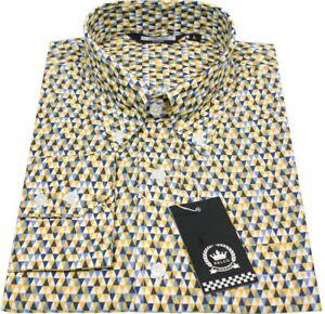 f75e662b322981 Mustard Black Geometric Dot Men's Button Down Shirt 100% Cotton ...