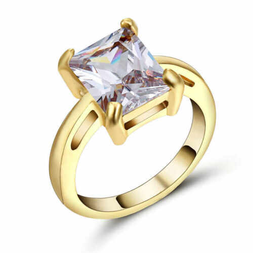 Luxury White Sapphire yellow 10K Gold Filled Men/&Women Nobby Engagement Size 8