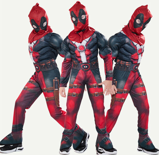 Kids Boys Deadpool Cosplay Costume Party Fancy Dress Jumpsuit Mask Outfit Set