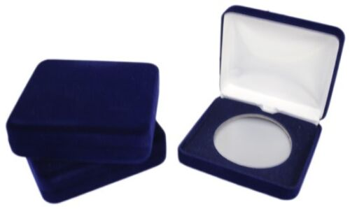 Air Tite Steel Box For X Size Coin Capsule Blue Leatherette Gift Display Case