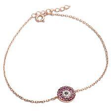 Rose Gold Plated Ruby, White & Black Cz .925 Sterling Silver Bracelet