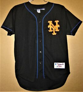super popular 4bb5a 4858a Details about NEW YORK METS BLACK BUTTON-DOWN JERSEY (Size 40)