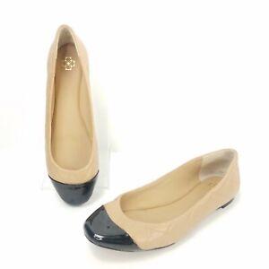 Ann-Taylor-Ballet-Slip-On-Shoes-Size-7-5-Tan-Quilted-Cap-Toe-Espadrilles
