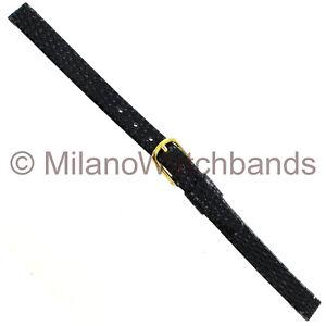 10mm-Hadley-Roma-Black-Genuine-Leather-Lizard-Grain-Ladies-Watch-Band-LS706