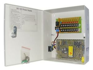 POWER SUPPLY Box FOR CCTV CAMERAS 12V 10AMP 9 Port