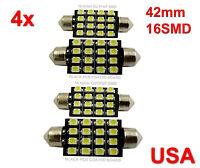 4x 42mm Car Interior 16 SMD White Led light 3528 Dome lamp Bulb 211-2 578 212-2