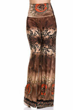 BROWN Casual High Waist Foldover Wide Leg Boho Print Trousers Palazzo Pants - S