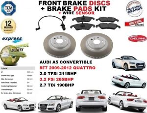 FOR AUDI A5 CONVERTIBLE FRONT BRAKE DISCS SET + DISC PADS KIT + WIRE SENSOR