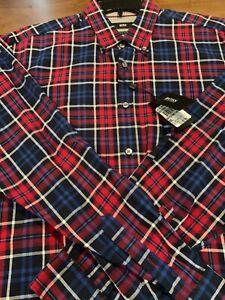NWT-145-Hugo-Boss-Flannel-Plaid-Long-Sleeve-Shirt-Mens-Size-XXL-Regular-Fit