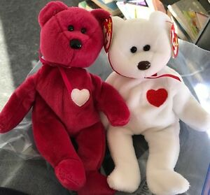 2 Ty Beanie Babies Baby Bears Valentina   Valentino with errors ... c3c7fff8c85