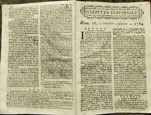 1784-GAZZETTA-UNIVERSALE-SU-NAPOLI-ASSEDIA-ALGERI-MIGRAZIONE-INGLESE-VERSO-USA