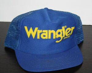 b10bfe675 Details about Vintage WRANGLER BRAND JEANS 80s Blue Trucker Hat Cap  Snapback USA Made