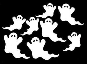 Blanco Sizzix Halloween Fantasmas dado corta RAW Auto Adhesivo aglomerado Set 8 piezas