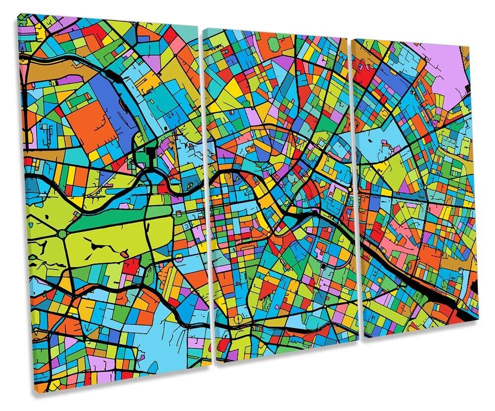 Berlin Stadt Modern Map Bild TREBLE CANVAS Wand Kunst Drucken Multi-Colourot
