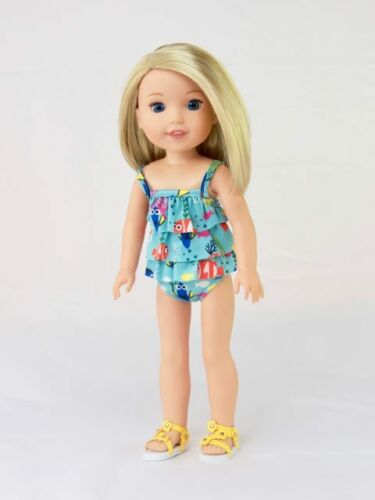"Fish 2pc Ruffle Swimsuit Fits Wellie Wisher 14.5/"" American Girl Clothes"