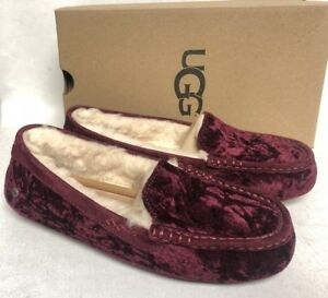 51fc640caed Details about Ugg Australia Ansley Crushed Velvet Fig Slippers House Shoes  1090869 Women's
